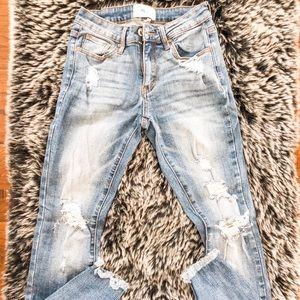 A2 high waist, raw hem cuff skinny jeans